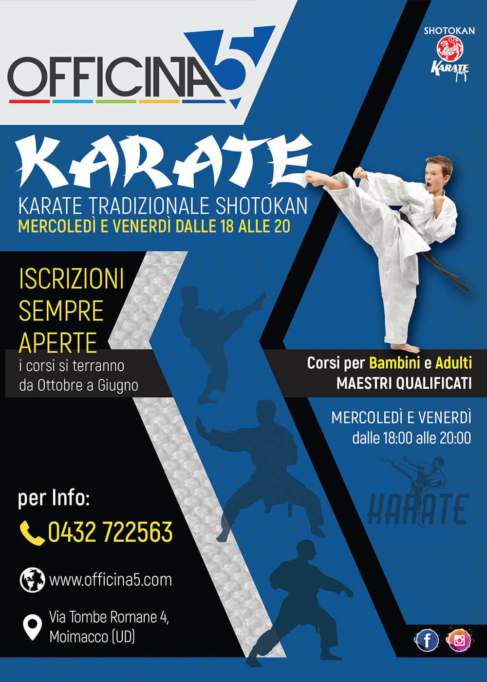 Corsi di Karate in palestra Officin5 a Moimacco