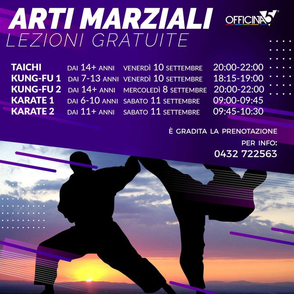 Lezioni gratuite di arti marziali in palestra a Cividale da Officina5