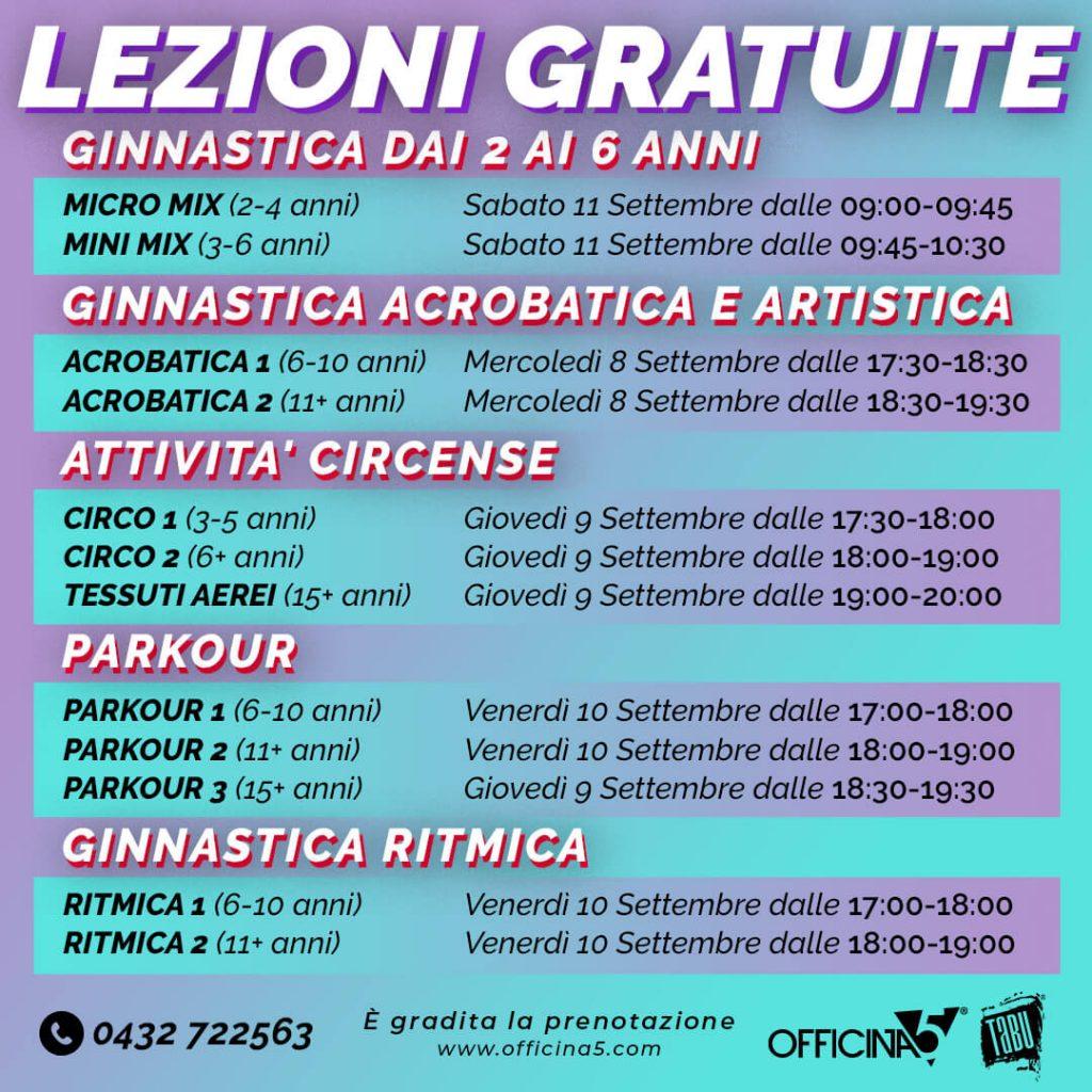 Lezioni gratuite di ginnastica in palestra a Cividale da Officina5