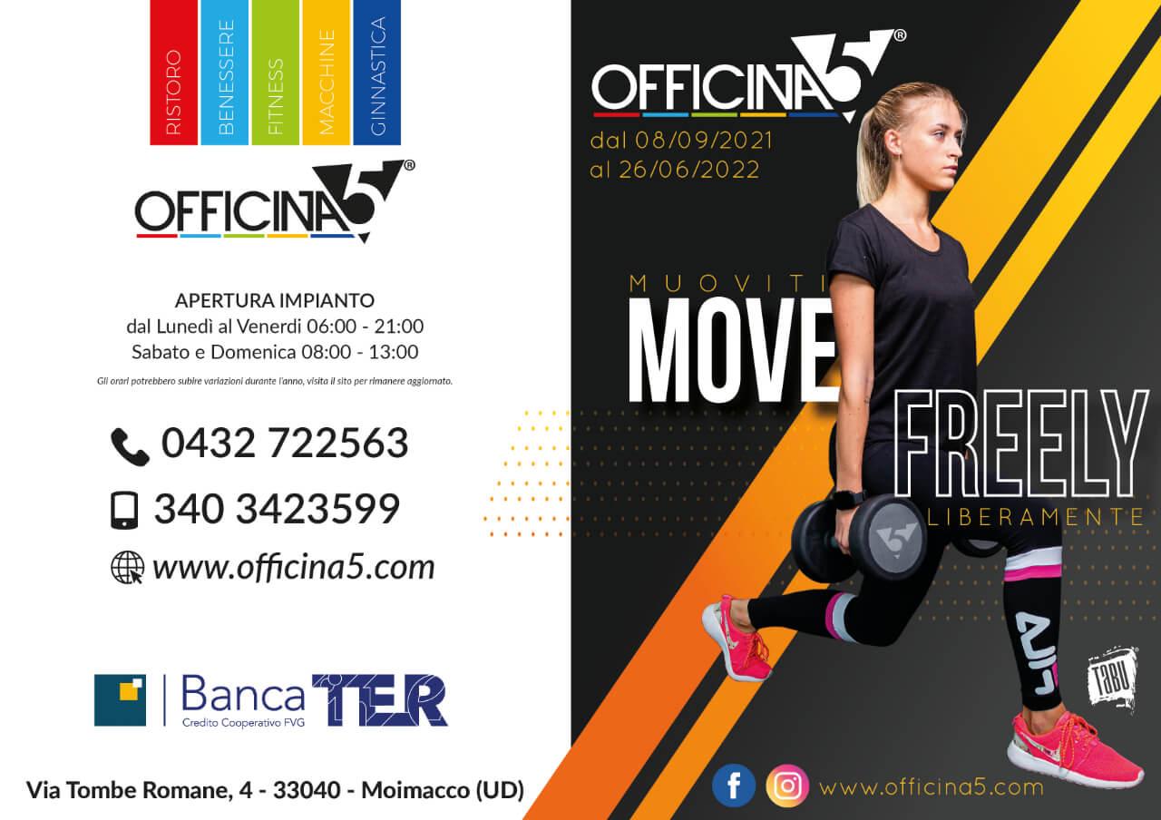 Officina5 palestra vicino Remanzacco: nuovi corsi fitness, ginnastica e sala macchine 2021-2022