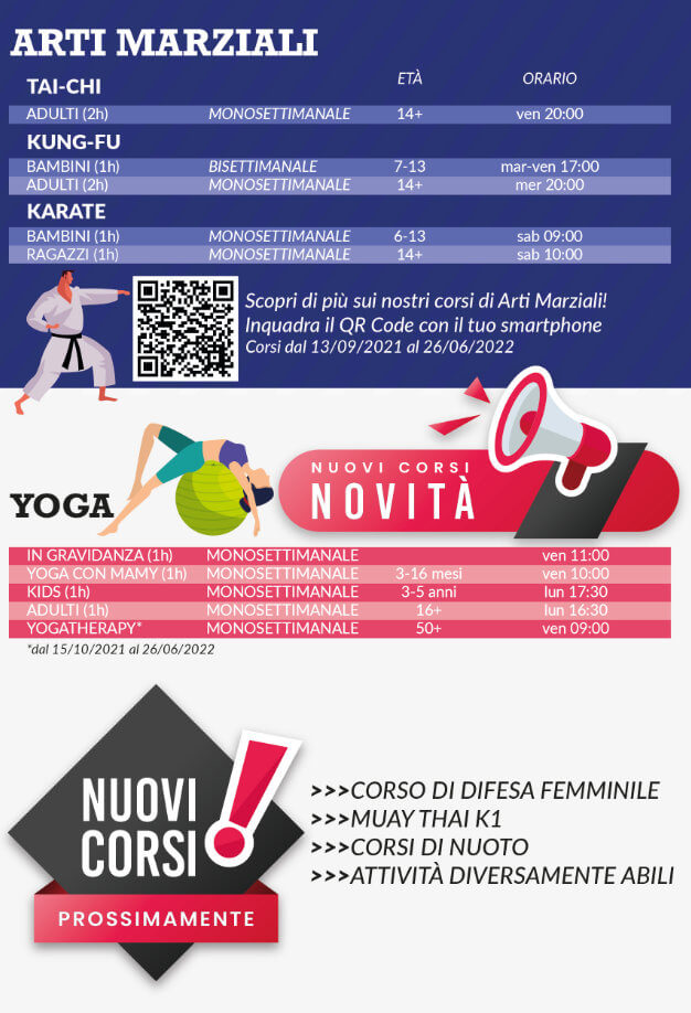 Orari corsi arti marziali e yoga di OFFICINA5 palestra di Moimacco vicino a Cividale